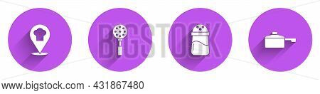 Set Chef Hat With Location, Spatula, Salt And Frying Pan Icon With Long Shadow. Vector