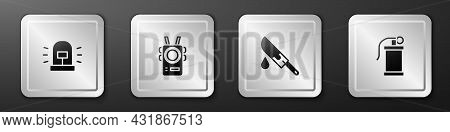 Set Flasher Siren, Police Body Camera, Bloody Knife And Hand Smoke Grenade Icon. Silver Square Butto
