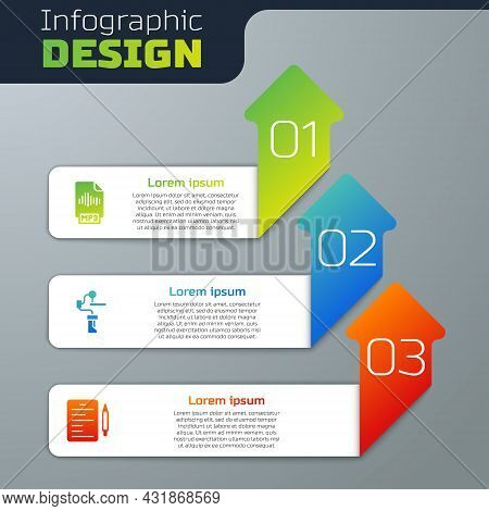 Set Mp3 File Document, Gimbal Stabilizer For Camera And Scenario. Business Infographic Template. Vec