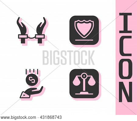 Set Scales Of Justice, Handcuffs On Hands Criminal, Coins - Minimal Wage And Shield Icon. Vector
