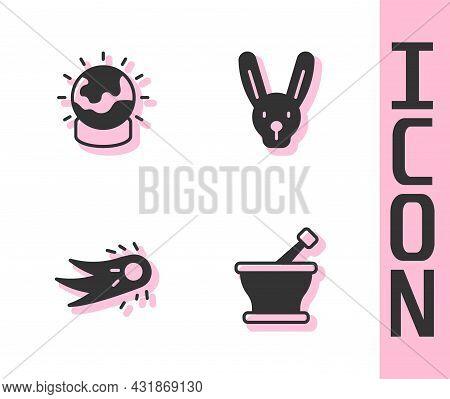 Set Mortar And Pestle, Magic Ball, Fireball And Rabbit With Ears Icon. Vector