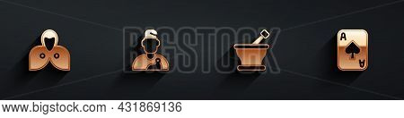 Set Mantle, Cloak, Cape, Wizard Warlock, Mortar And Pestle And Playing Cards Icon With Long Shadow.