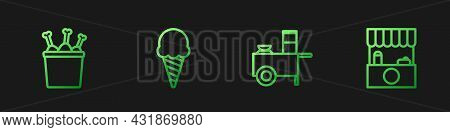 Set Line Fast Street Food Cart, Chicken Leg In Package Box, Ice Cream Waffle Cone And Street Stall W