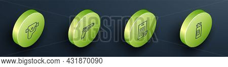 Set Isometric Line Gun In Holster, Pistol Or Gun, Firearms License Certificate And Weapons Oil Bottl