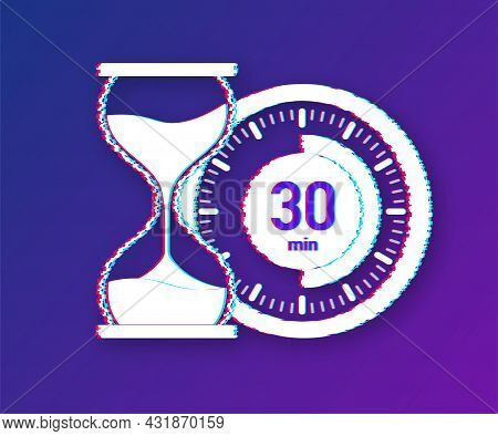 The 30 Minutes, Stopwatch Vector Glitch Icon. Stopwatch Icon In Flat Style, Timer On On Color Backgr