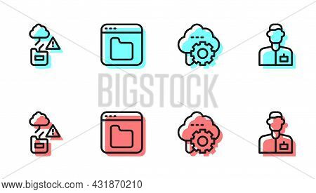 Set Line Cloud Technology Data Transfer, , Browser Files And Analyst Engineer Icon. Vector