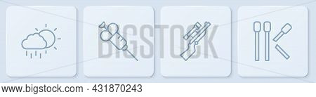 Set Line Cloud With Rain, Sniper Rifle Scope, Syringe And Matches. White Square Button. Vector