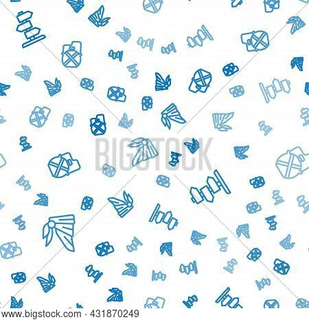 Set Line Bandana Or Biker Scarf, Road Traffic Sign And Canteen Water Bottle On Seamless Pattern. Vec