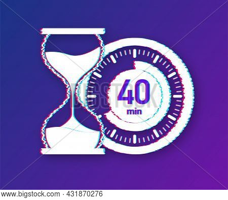 The 40 Minutes, Stopwatch Vector Glitch Icon. Stopwatch Icon In Flat Style, Timer On On Color Backgr