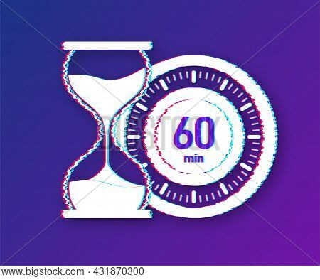 The 60 Minutes, Stopwatch Vector Glitch Icon. Stopwatch Icon In Flat Style, Timer On On Color Backgr