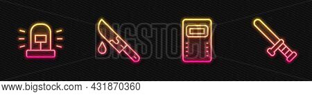 Set Line Police Assault Shield, Flasher Siren, Bloody Knife And Rubber Baton. Glowing Neon Icon. Vec