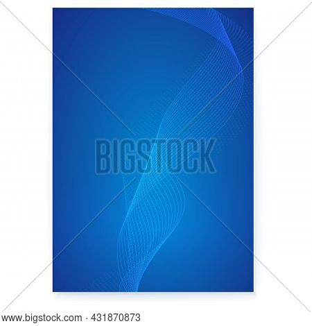 Curved Blended Lines On Cover. Poster In Scientific Style. Vector Illustration