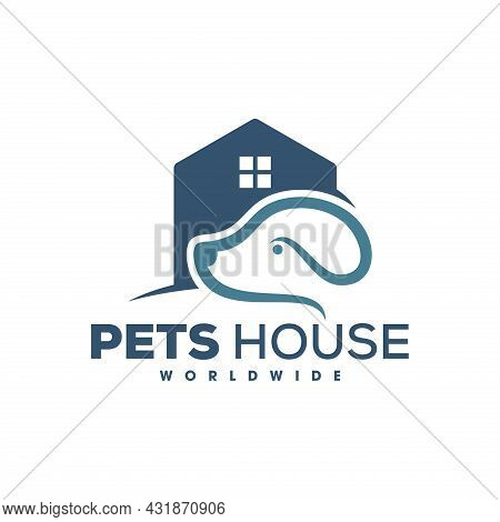 Dog Care Mono Line House Logo, Beautiful Dog Home Monoline Logo Design Of A Stylized Dog. Pets Care