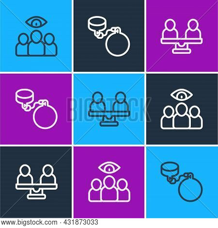 Set Line Spy, Agent, Gender Equality And Ball On Chain Icon. Vector