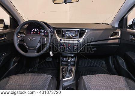 Novosibirsk, Russia - August 20, 2021:  Hyundai Solaris, Steering Wheel, Shift Lever, Multimedia  Sy