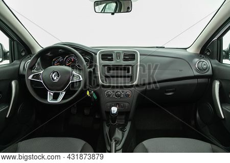 Novosibirsk, Russia - August 20, 2021:  Renault Logan, Steering Wheel, Shift Lever, Multimedia  Syst