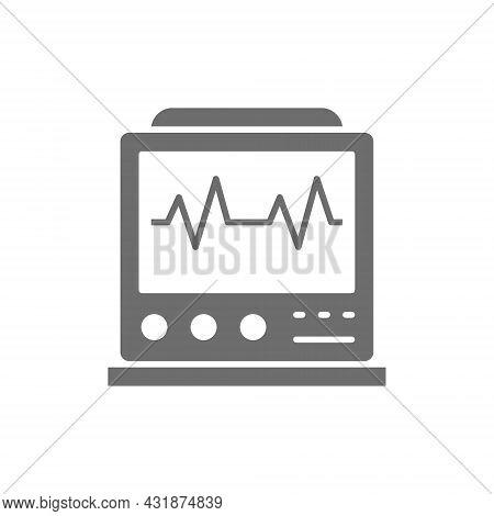 Ekg Machine With Pulse, Icu Monitor, Electrocardiograph Grey Icon.