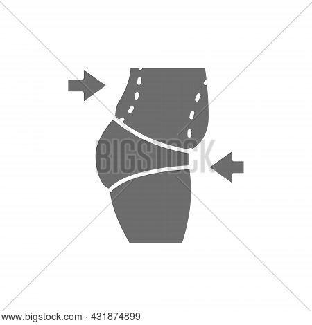 Liposuction Of Abdomen, Tummy Tuck, Plastic Surgery Grey Icon.