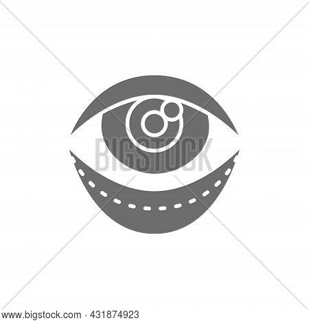 Blepharoplasty, Eyelid Plastic Surgery, Surgical Facial Rejuvenation Grey Icon.