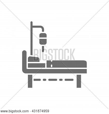Hospital Bed With Medical Equipments, Intensive Care, Resuscitation Grey Icon.