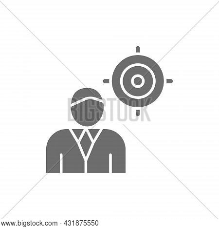 Chief With Target, President, Leader Grey Icon.