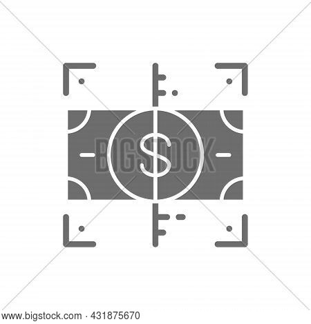 Vector Verification Money, Check Cash Grey Icon.