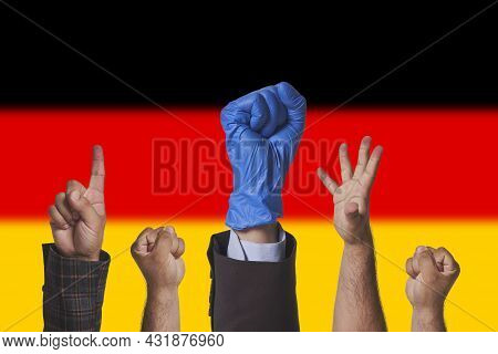Protests In Germany. Workers, Trade Unions Protesting Against New Rules, New Laws In Germany. Hand O