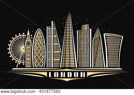 Vector Illustration Of London, Black Horizontal Poster With Linear Design Illuminated London City Sc