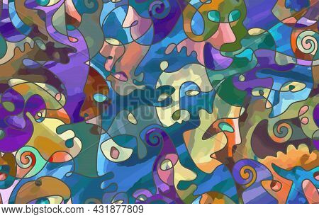 Abstract Painting. Seamless Pattern With One Line Effect. Portrait Of A Persons In The Style Of Cubi