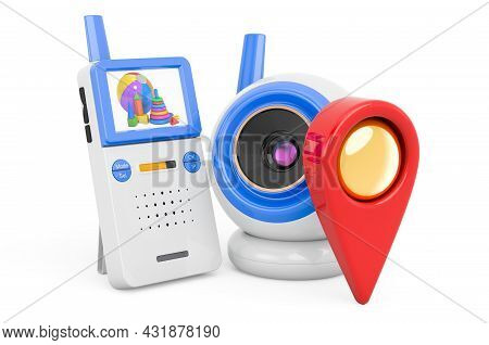Baby Cam With Map Pointer. 3d Rendering Isolated On White Background