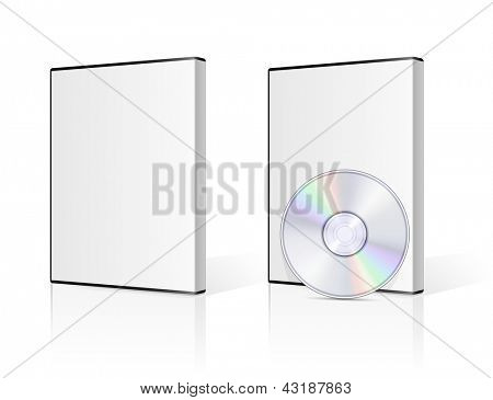 DVD case and disk on white background. Vector illustration.