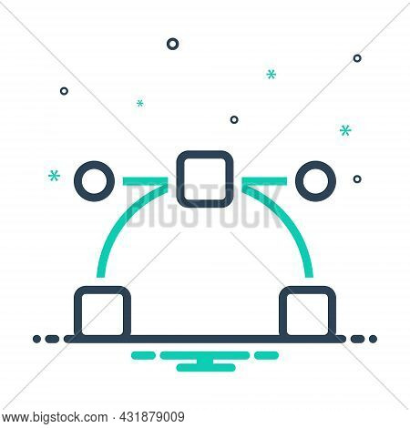 Mix Icon For Represent Anchor Curve Point Draw Perform Pen Tool