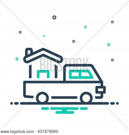 Mix Icon For For In-order-to Stand-for Instead-of Delivery House Truck Move
