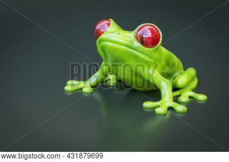 A green tree frog with red eyes. 3D illustration