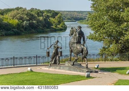 Veshenskaya, Russia - August 28, 2021: The Sculptural Composition