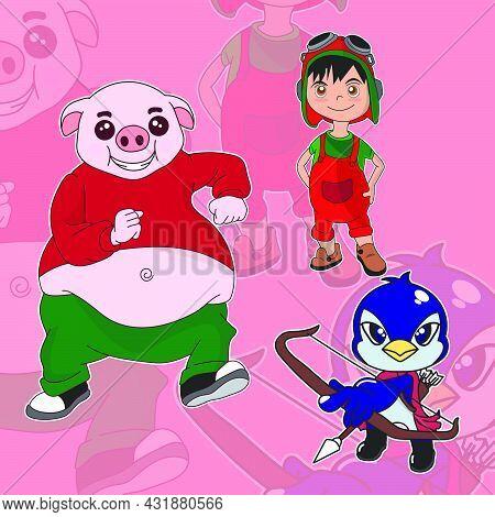 Bundle Set Cute Cartoon Character Fat Pig, Little Boy In Pilot Outfit And Penguin Archer