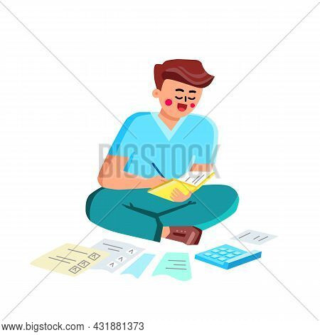 Debt Business Report Researching Young Man Vector. Boy Trying To Find Money To Pay Credit Card Debt.