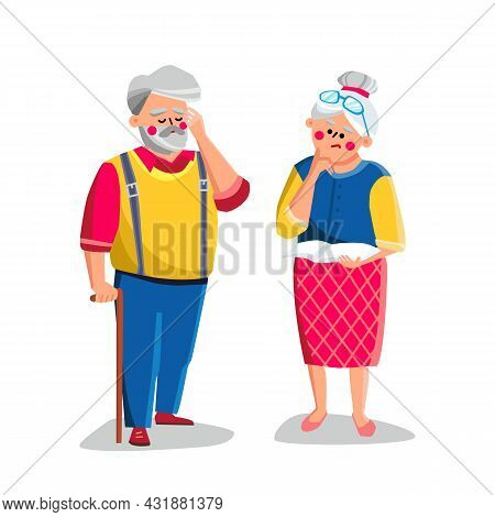 Dementia Disease Of Elderly Man And Woman Vector. Dementia Or Alzheimer Illness Of Old Grandfather A