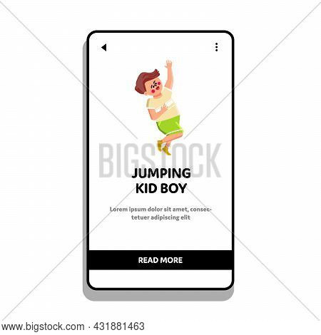 Jumping Kid Boy Enjoy With Happy Emotion Vector. Little Child With Happiness Mood Jumping And Enjoyi