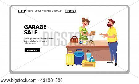 Garage Sale Event Customer Buying Goods Vector. Woman Seller Garage Sale Business Occupation, Man Ch