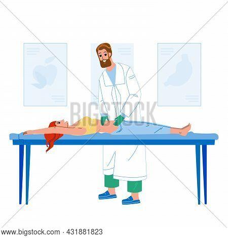 Gastroenterologist Examining Woman Patient Vector. Gastroenterologist Doctor Checking Girl Stomach O