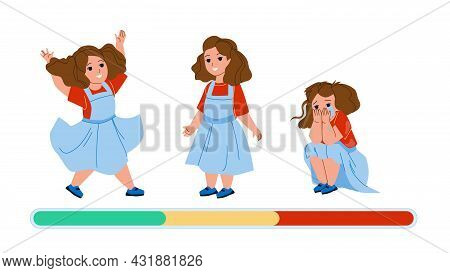 Girl Kid Mood Laughing, Smiling And Unhappy Vector. Small Girl Kid Mood Jump And Smile, Sitting On F