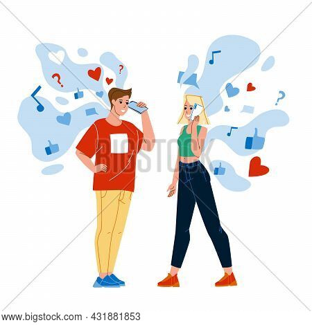 Boy And Girl Listen Social Media Together Vector. Young Man And Woman Couple Listening Social Media