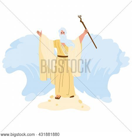 Moses Separate Sea Water Waves In Exodus Vector. Moses Biblical And Jewish Religion Person, Jews Lib