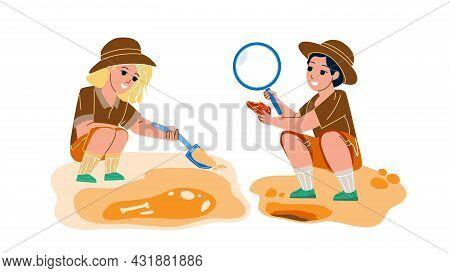 Paleontology Occupation Making Children Vector. Paleontology Scientist Kids Working On Excavation, E