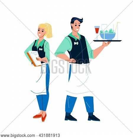 Waiter Restaurant Workers Man And Woman Vector. Young Boy Waiter Holding Tray With Drink And Salad F