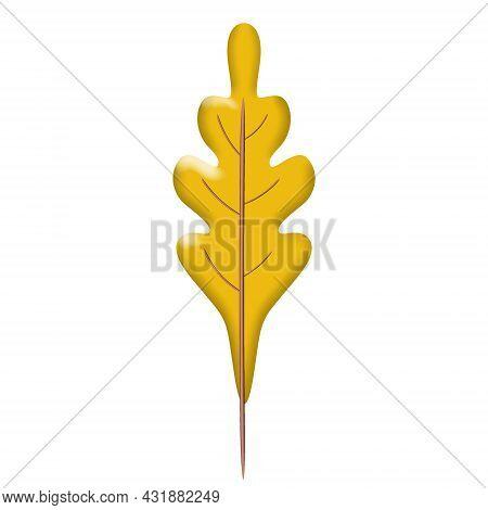 Autumn Leave 3d. Fall Leaf, Minimal 3d Render, Plasticine, Vector