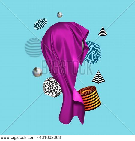 Banner For Decorative Design With Abstract Composition Of 3d Figures With Stripped Pattern. Purple S