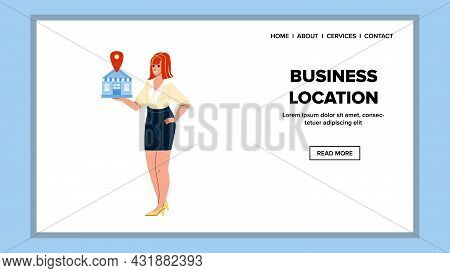 Business Location Showing Businesswoman Vector. Young Woman Manager Show Company Building Business L