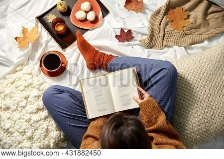 people, season and leisure concept - young woman reading book at home in autumn